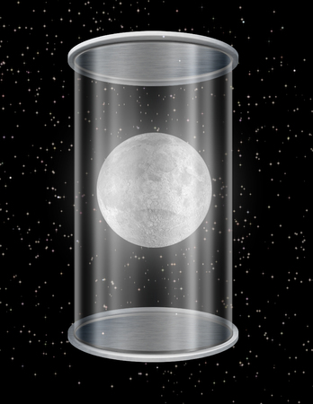 Surreal composition. Moon in glass cylinder container Imagens - 112277946
