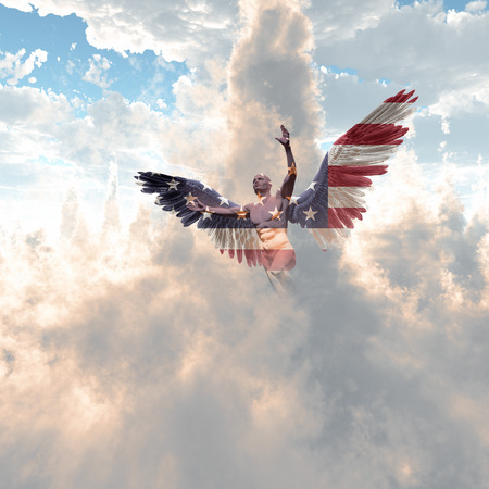 Surrealism. Angel in US national colors flies in the cloudy sky.