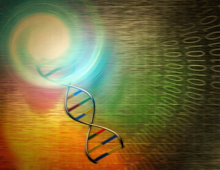 Surrealism. DNA chain. Binary code.