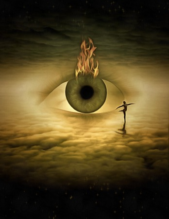 Surreal painting. Dancer on clouds. God's eye. Stock Photo