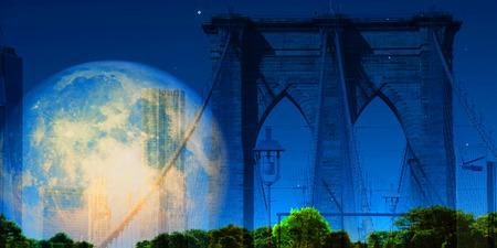 NY Brooklyn Bridge. Bright full moon in the sky Stock Photo