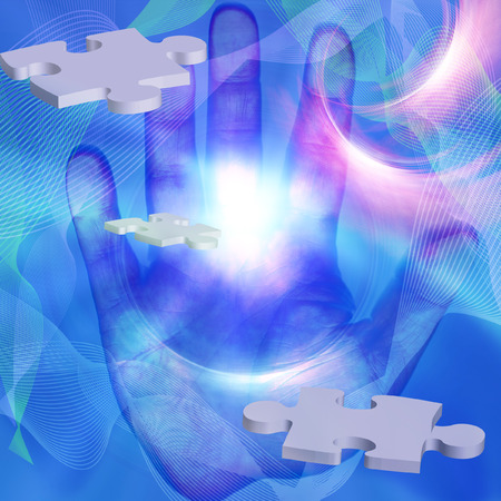 Flying puzzle pieces and human hand radiates light