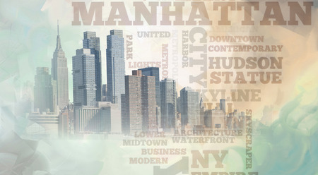 Manhattan. New York. Contemporary composition in soft pastel colors