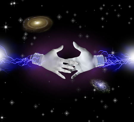 Hands reaching toward each other in space