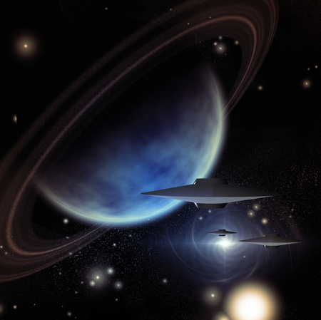Alien Space Crafts Near Giant Ringged Planet