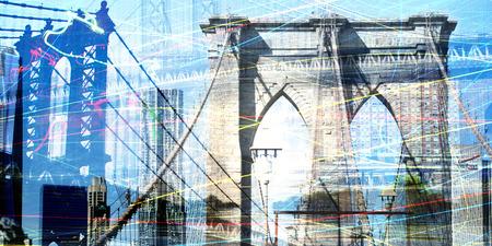 Modern art. Brooklyn and Manhattan bridges, view on downtown. Stock Photo