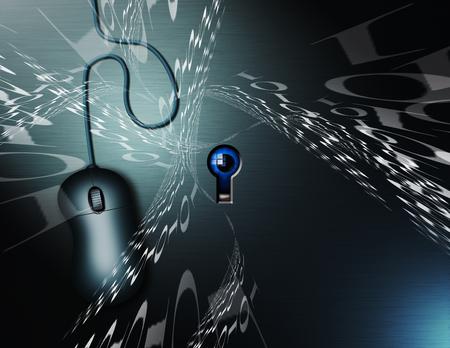 Binary code and computer mouse. Eye behind keyhole symbolizes digital espionage