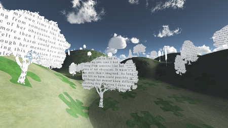 Fantasy landscape with tress made of paper with text. Writing is my own