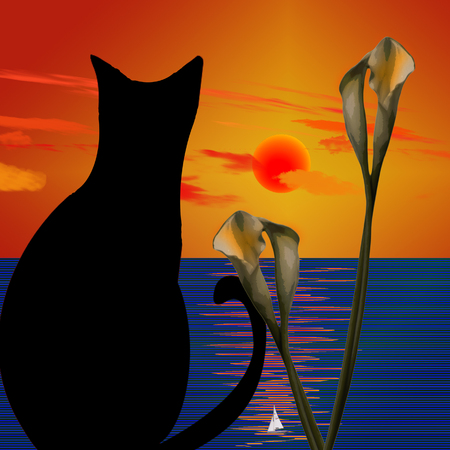Black cat. Sunset above calm ocean. Lily flowers Stock Photo