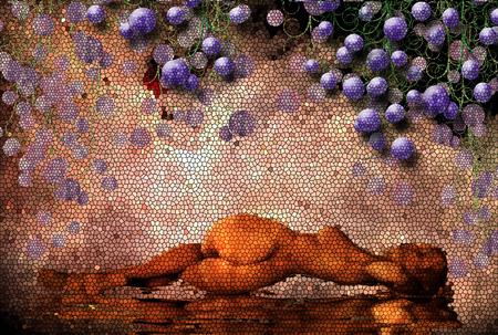 Woman and grape bunches. Mosaic pattern Foto de archivo - 112282143