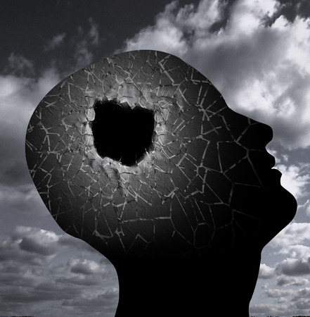 Surreal composition. Hole in Head. Clouds in the sky Stock Photo