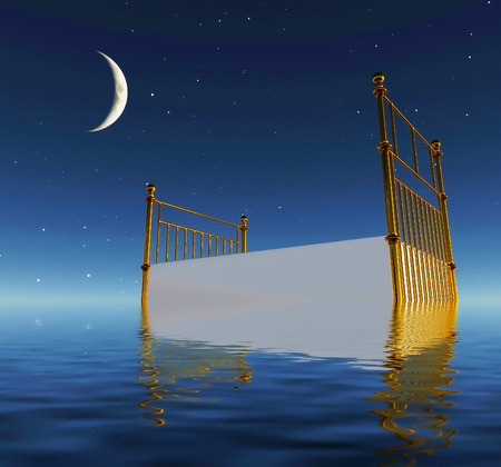 Bed floats in calm water. Surreal dream