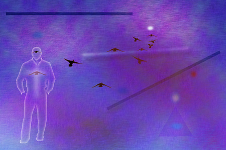 Mans silhouette as a ghost. Geometric elements. Birds in the sky