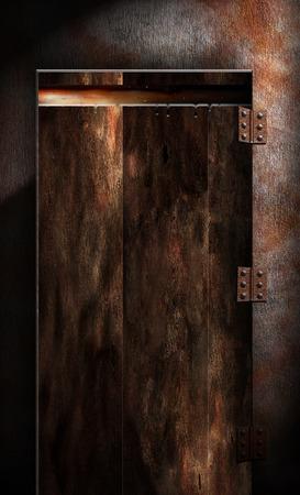 Old wooden door. Dark colors. Stock Photo