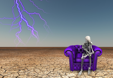 Lighting strikes near contemplative skeletal figure. Purple armchair in arid lands