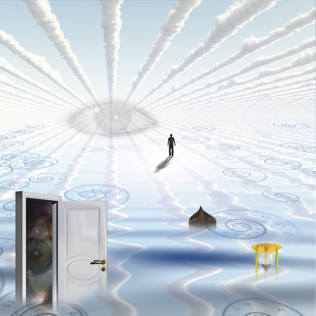 Open door in watery landscape with partially submerged hourglass , an empty boat, human figure walks toward surreal eye.