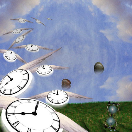 Symbolic composition. Hourglass and floating stones. Winged clocks represents flow of time.