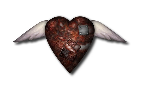 Rusted winged heart with metal patches. Wasting love Stock Photo - 112356637