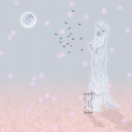 Woman`s marble statue and butterflies. Glowing moon and hourglass.