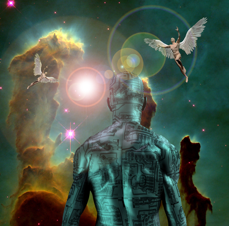 Surreal digital art. Man with electric circuit pattern on his skin stands before nebula in deep space. Another men with wings represents angels. 3D rendering Banco de Imagens