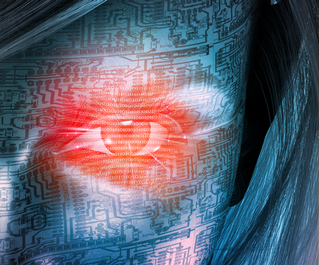 Cyborg woman face. Binary code in red eye, circuit pattern