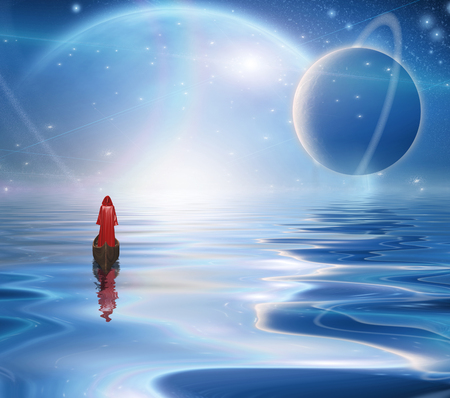 Exosolar Planets Rise over quiet waters. Figure in red cloak floats in boat.
