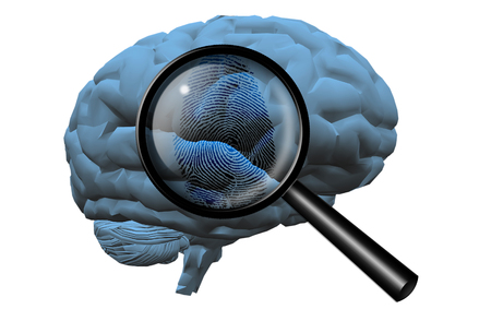 Fingerprint on brain, magnify glass
