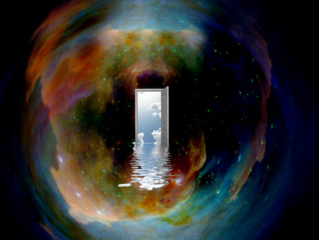 Opened door to another world in endless universe. Stock Photo