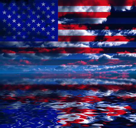 Surreal digital art. USA Flag over clouds reflected in the water. Фото со стока