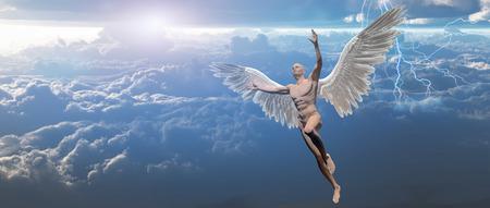 Surrealism. Man with angel's wings flies in cloudy sky.
