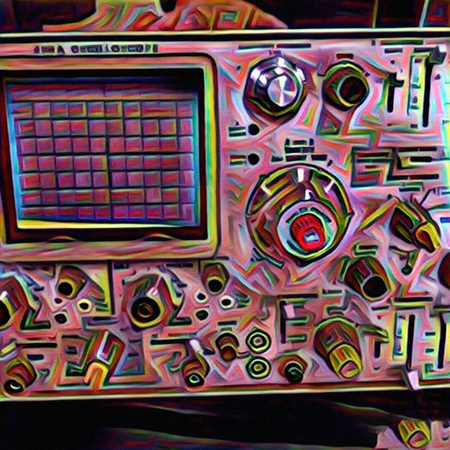 Modern digital art. Oscilloscope.