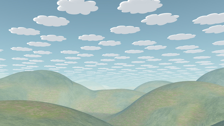 Serene landscape. Cartoonish clouds in the sky