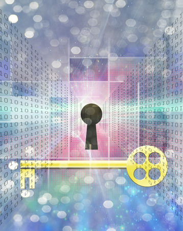 Modern art. Golden key, keyhole and binary code on a background.