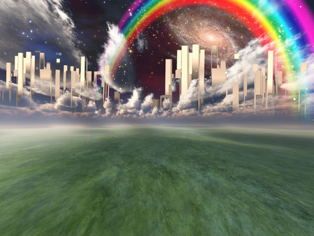 Heavenly City in clouds. Rainbow and galaxies in the sky Stock Photo