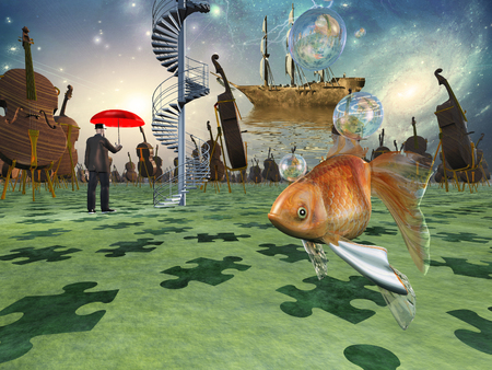 Surreal scene with various elements. Music instruments, golden fish and ancient sailboat. Man with red umbrella