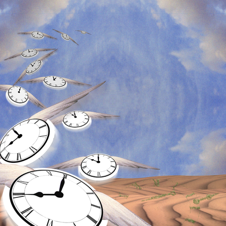 Winged clocks represents flow of time