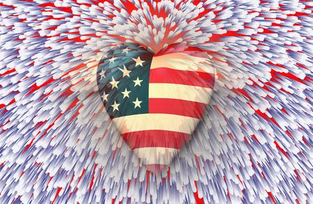 USA flag heart in vivid sparks