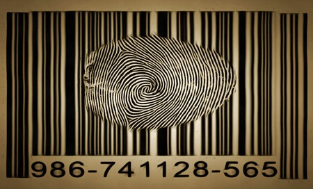 Fingerprint on barcode. Painting on canvas 스톡 콘텐츠
