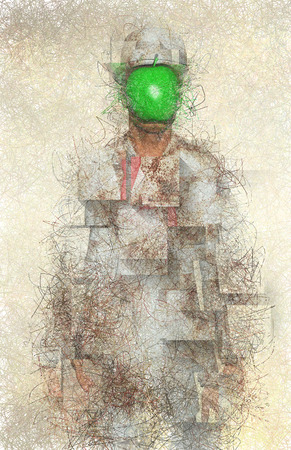 Surreal digital art. Man in white corroded suit with green apple instead of face. Rene Magritte style.
