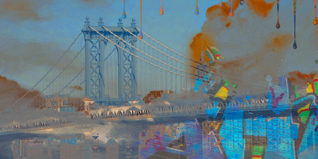 Surreal digital art. Manhattan bridge on New Yorks cityscape. Pieces of graffiti and paint drops. Stock Photo