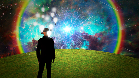 Bright ideas. Man surrounded by light bulbs. Energy burst in vivid sky