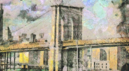 Modern art. Manhattan bridge. Harbour view. Canvas painting.