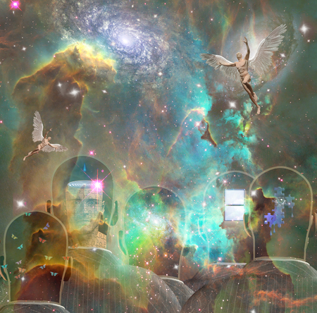 Surrealism. Mens heads with different thoughts inside. Men with wings represents angels. Vivid universe with galaxies and nebulae. 3D rendering