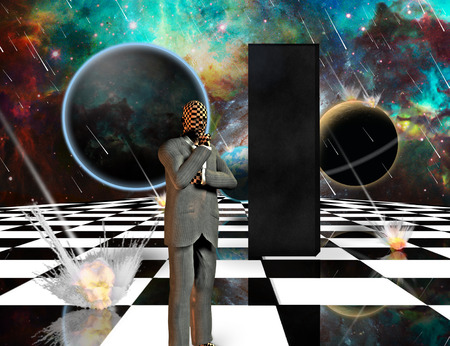 Planetary Armageddon. Massive meteorite - asteroid shower destroy planets. Black mystic monolith and thinking businessman on chessboard. 3D rendering Archivio Fotografico