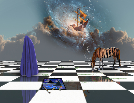 Deep Imaginative scene. Sailboat in the clouds. Striped horse and human figure covered by blue cloth