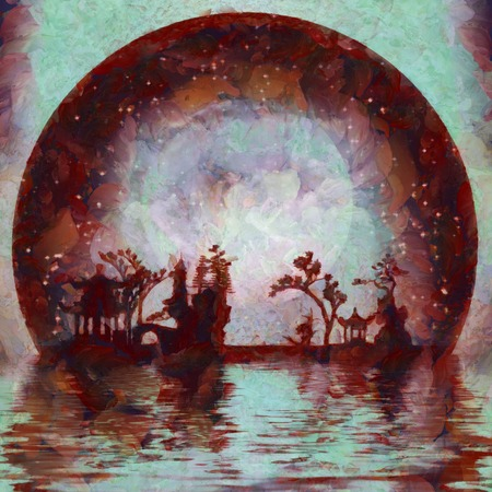 Oil painting. Asian silhouettes on waterfront. Giant moon at the horizon.