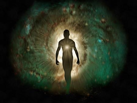 Peinture surréaliste. Silhouette humaine avec une lumière vive à l'intérieur.