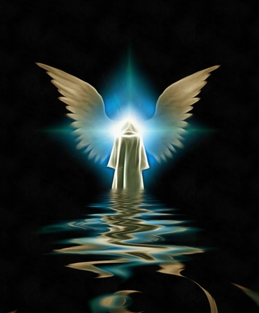 Figure in white cloak before winged angel star Stock Photo