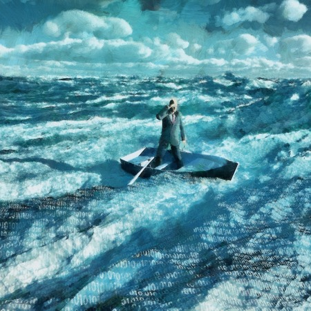 Surreal painting. Man in suit floats in boat in ocean with binary code. Stock fotó