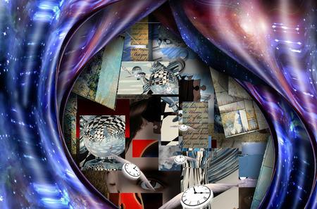 Composition symbolique. Pièces d'échecs et espace déformé avec des galaxies éclatantes. Fragments de phrases d'un poème inconnu. Les horloges ailées représentent l'écoulement du temps Banque d'images